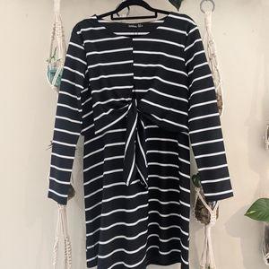 Maternity Nursing Knot Front Stripe Dress